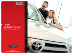Toyota Certified Platinum Vehicle Service Agreement Backed by the
