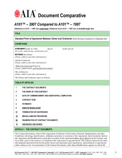 Document Comparative A101™ – 2007 Compared to A101™ – 1997