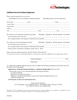Fulfillment Service Enrollment Application