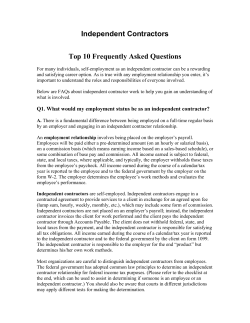 Independent Contractors  Top 10 Frequently Asked Questions