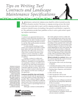 M Tips on Writing Turf Contracts and Landscape Maintenance Specifications