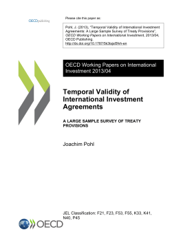 "Pohl, J. (2013), ""Temporal Validity of International Investment"