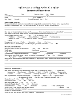Yellowstone Valley Animal Shelter Surrender/Release Form