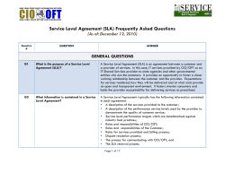 Service Level Agreement (SLA) Frequently Asked Questions GENERAL QUESTIONS