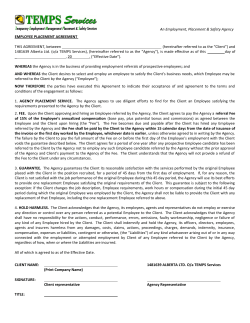 An Employment, Placement & Safety Agency EMPLOYEE PLACEMENT AGREEMENT