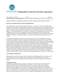 Independent Contractor Provider Agreement