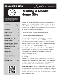 Renting a Mobile Home Site CONSUMER TIPS Renting a Mobile Home Site