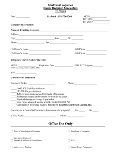 Southwest Logistics Owner Operator Application 10 Pages
