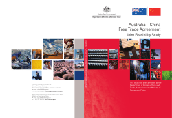Australia – China Free Trade Agreement Joint Feasibility Study