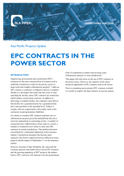 EPC CONTRACTS IN THE POWER SECTOR Asia Pacific Projects Update