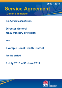 Service Agreement Director General NSW Ministry of Health Example Local Health District