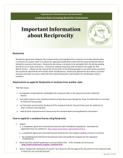 Important Information about Reciprocity Louisiana State Licensing Board for Contractors