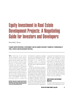 Equity Investment in Real Estate Development Projects: A Negotiating