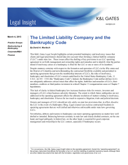 The Limited Liability Company and the Bankruptcy Code
