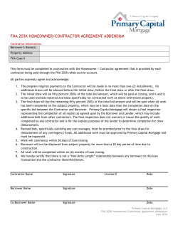 FHA 203K HOMEOWNER/CONTRACTOR AGREEMENT ADDENDUM
