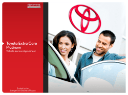 Toyota Extra Care Platinum Vehicle Service Agreement Backed by the