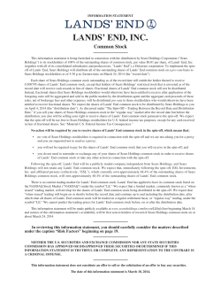 LANDS' END, INC. Common Stock