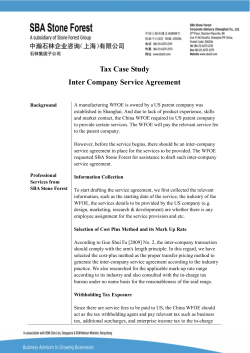 Tax Case Study Inter Company Service Agreement