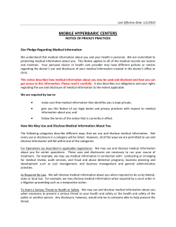 MOBILE HYPERBARIC CENTERS NOTICE OF PRIVACY PRACTICES Our Pledge Regarding Medical Information