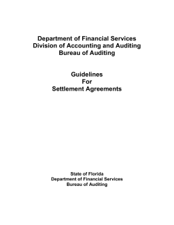 Department of Financial Services Division of Accounting and Auditing Bureau of Auditing