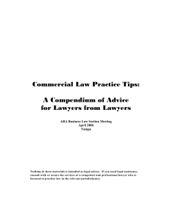 Commercial Law Practice Tips: A Compendium of Advice for Lawyers from Lawyers