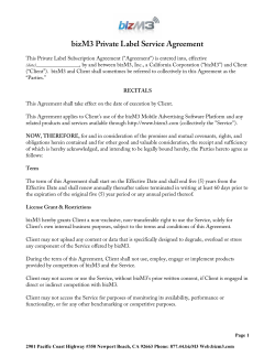 bizM3 Private Label Service Agreement
