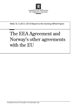 The EEA Agreement and Norway's other agreements with the EU