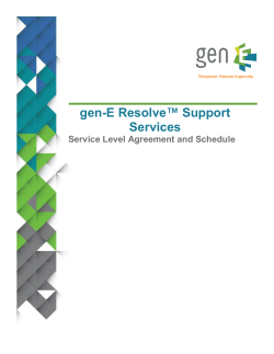 E Resolve™ Support gen- Services Service Level Agreement and Schedule