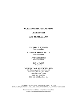 GUIDE TO ESTATE PLANNING UNDER STATE AND FEDERAL LAW