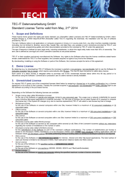 TEC-IT Datenverarbeitung GmbH Standard License Terms valid from May, 21 2014