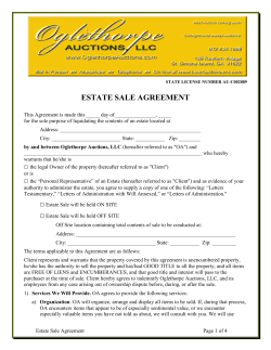 ESTATE SALE AGREEMENT