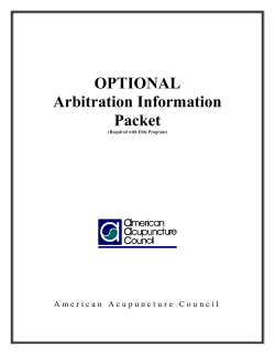 OPTIONAL Arbitration Information Packet
