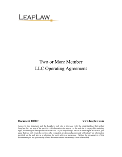 Two or More Member LLC Operating Agreement Document 1080C