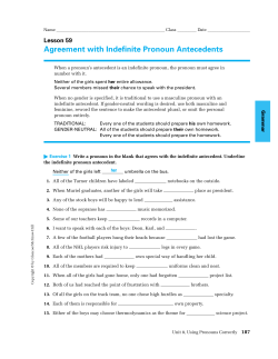 Agreement with Indefinite Pronoun Antecedents Lesson 59