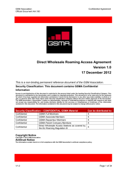 Direct Wholesale Roaming Access Agreement Version 1.0 17 December 2012