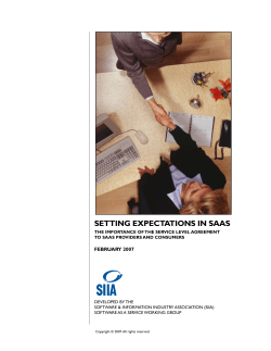 SETTING EXPECTATIONS IN SAAS FEBRUARY 2007