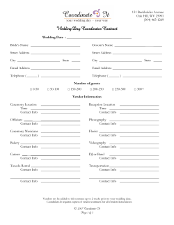 Wedding Day Coordinator Contract