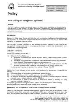 Policy  Profit Sharing and Management Agreements Western Australia