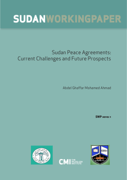 SUDAN WorkiNgPAPEr Sudan Peace Agreements: Current Challenges and Future Prospects