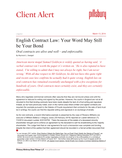 Client Alert English Contract Law: Your Word May Still be Your Bond