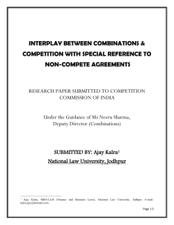 INTERPLAY BETWEEN COMBINATIONS & COMPETITION WITH SPECIAL REFERENCE TO NON-COMPETE AGREEMENTS