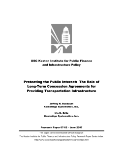 Protecting the Public Interest:  The Role of Providing Transportation Infrastructure