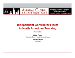 Independent Contractor Fleets in North American Trucking Greg Feary Jason Smith