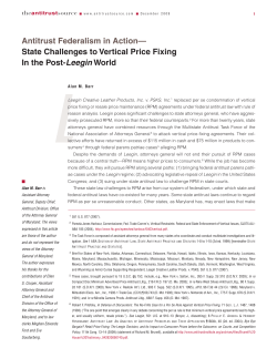 L Antitrust Federalism in Action— State Challenges to Vertical Price Fixing Leegin