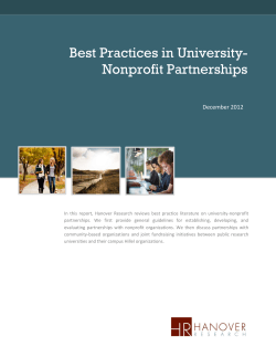 Best Practices in University- Nonprofit Partnerships  December 2012