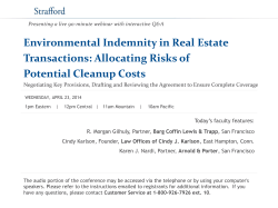 Environmental Indemnity in Real Estate Transactions: Allocating Risks of Potential Cleanup Costs
