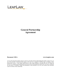 General Partnership Agreement  Document 1181A