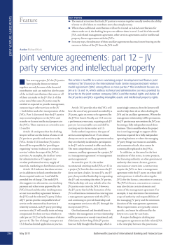Joint venture agreements: part 12 – JV Feature S