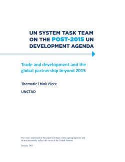 Trade and development and the global partnership beyond 2015  Thematic Think Piece