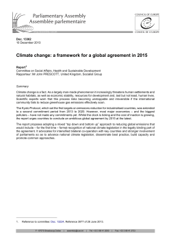Climate change: a framework for a global agreement in 2015